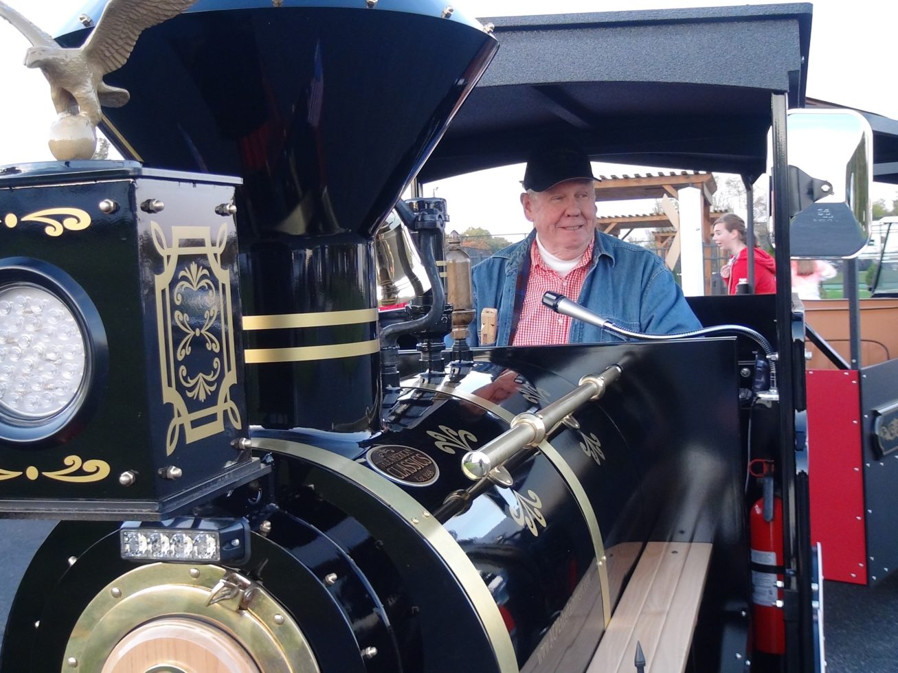 Conductor driving Trackless train