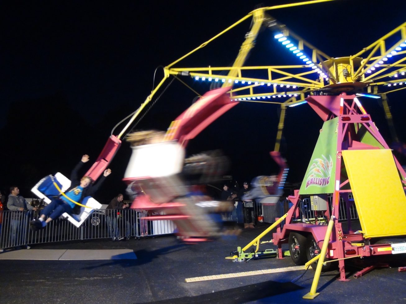 Ballistic Ride in Motion with riders at night