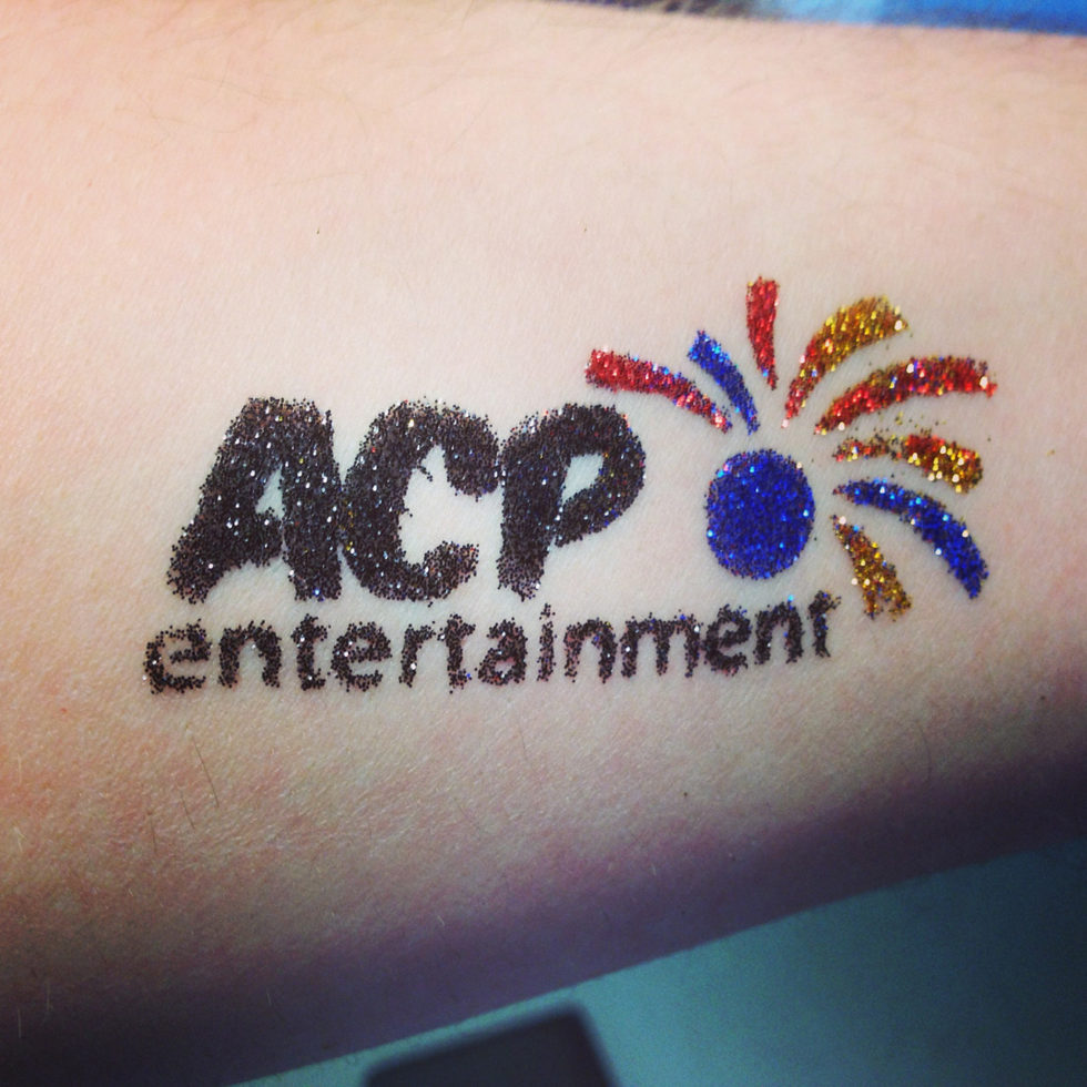 glitter tattoo of ACP Entertainment logo