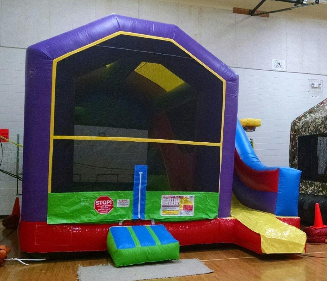 Wacky combo inflatable setup in gymnasium