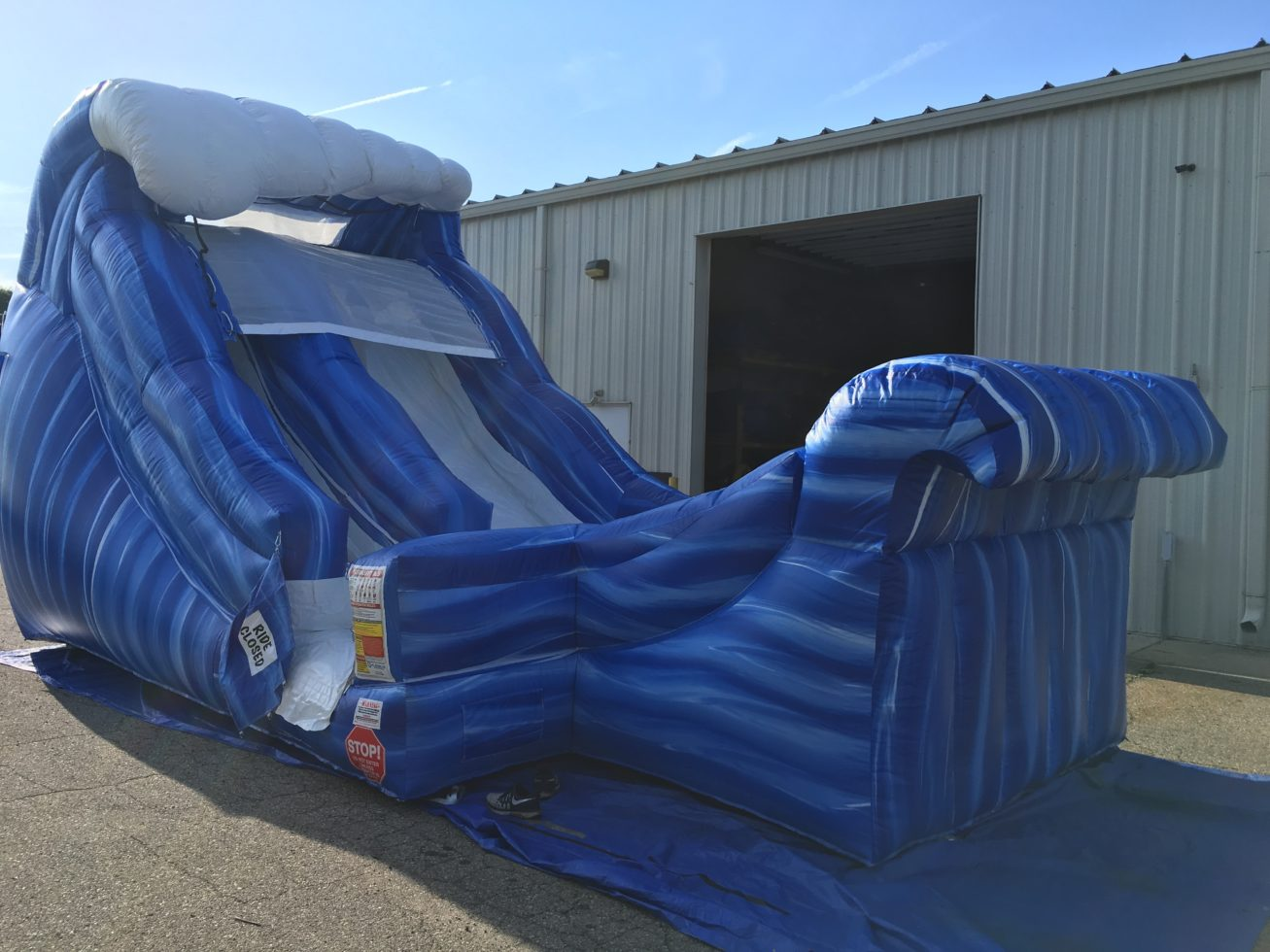 Wave waterslide setup outside