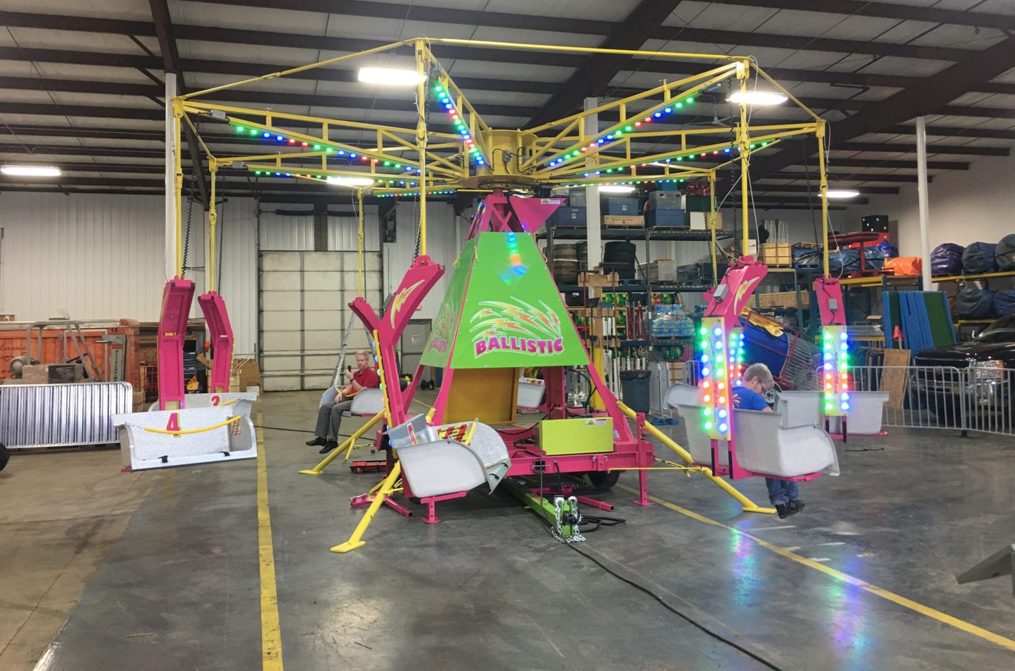Ballistic ride setup inside warehouse