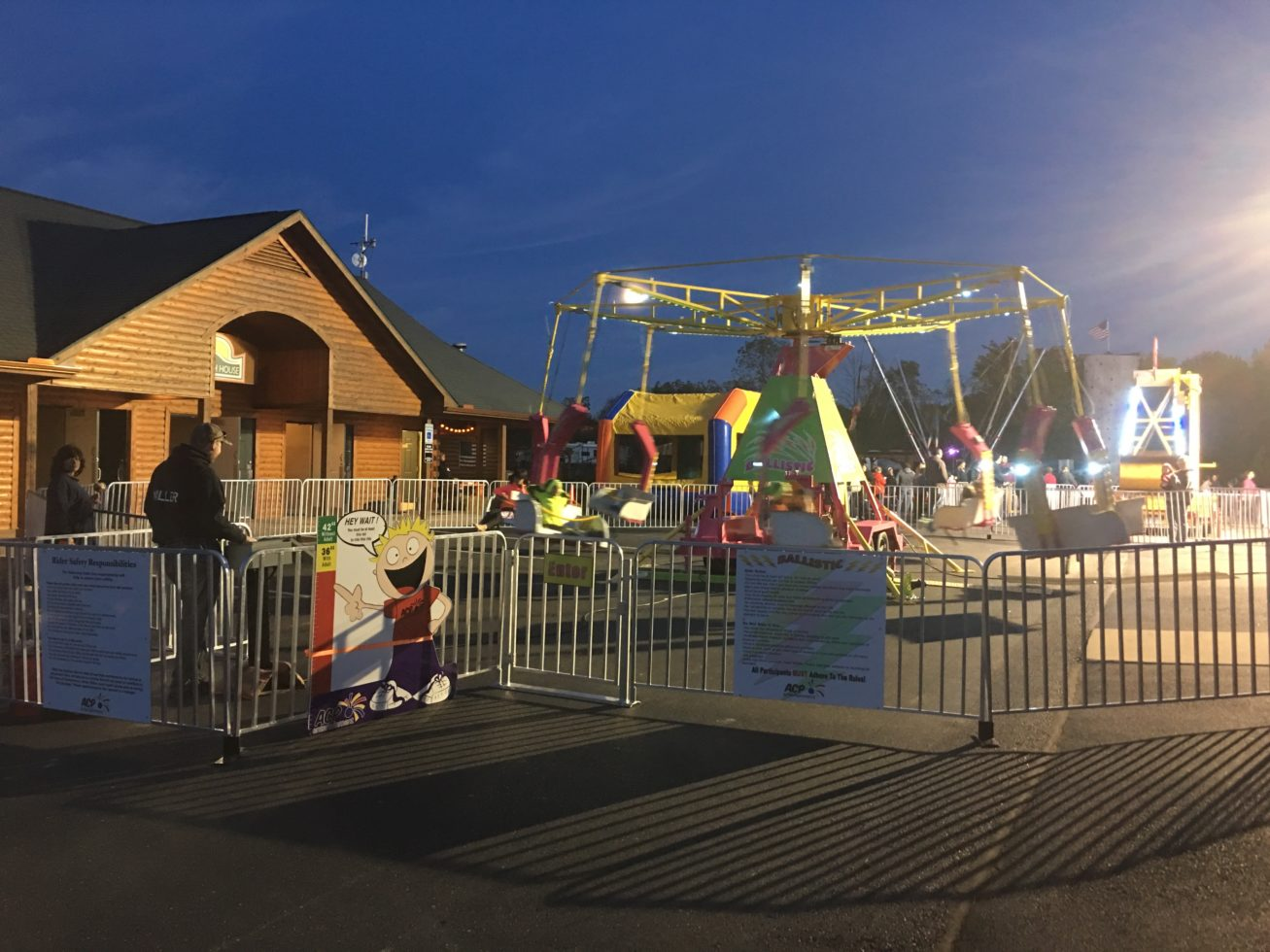 Ballistic ride at night at event