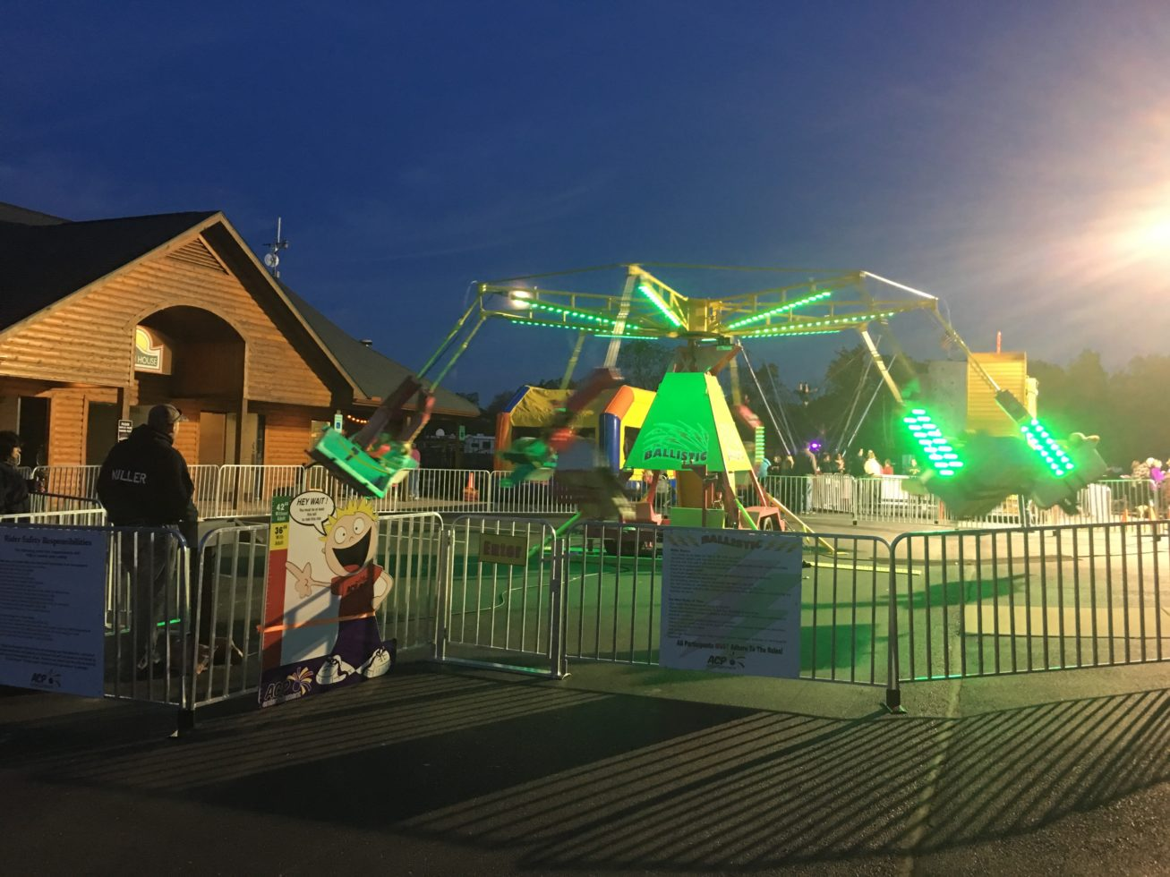 Ballistic ride at night with lights on