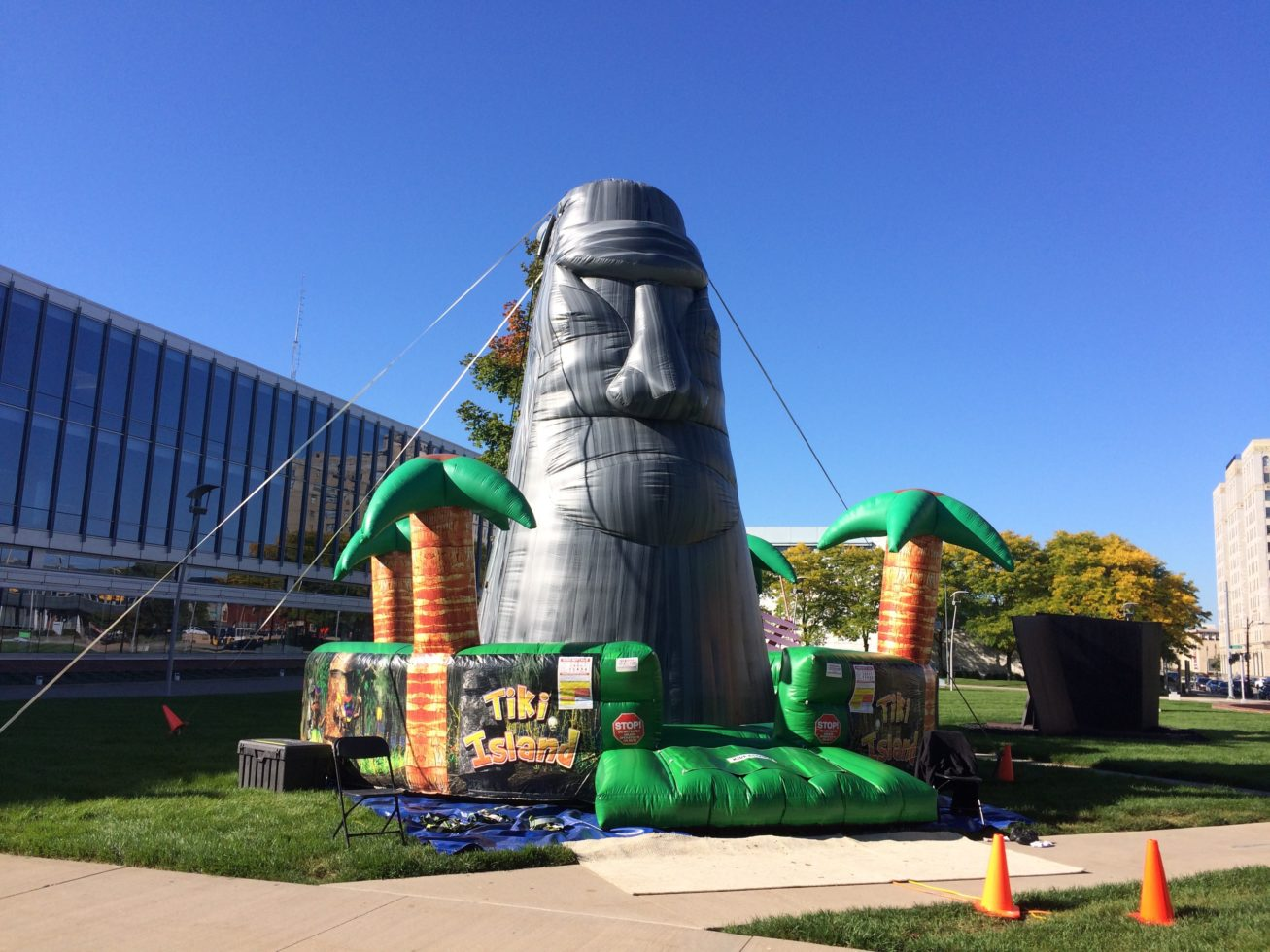 Event shot of tiki island inflatable rock wall
