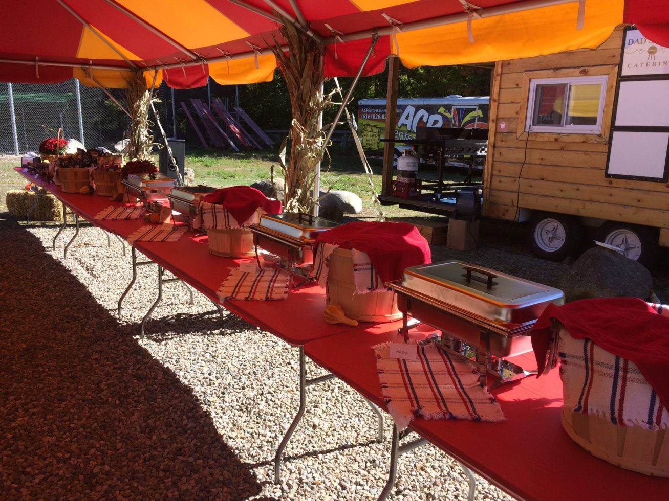 Side shot of Rustic catering setup