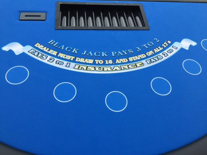 close up of black jack table