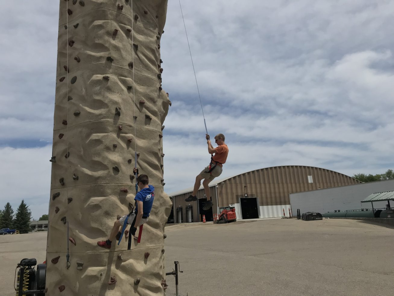 Repelling off the Sahara Climbing Wall Rental