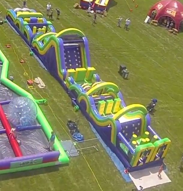 Ariel view of Radical run obstacle course setup at event