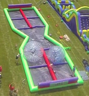aerial view of human hamster ball track