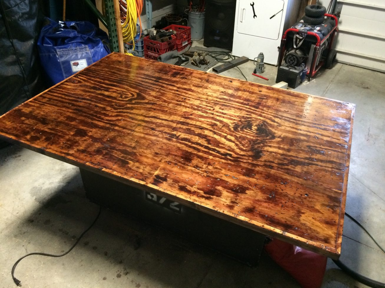 Rustic poker table top