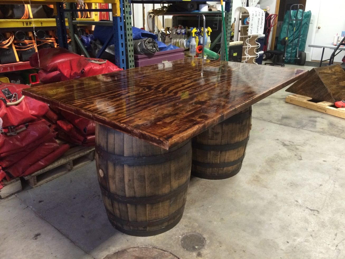 side view of rustic poker table