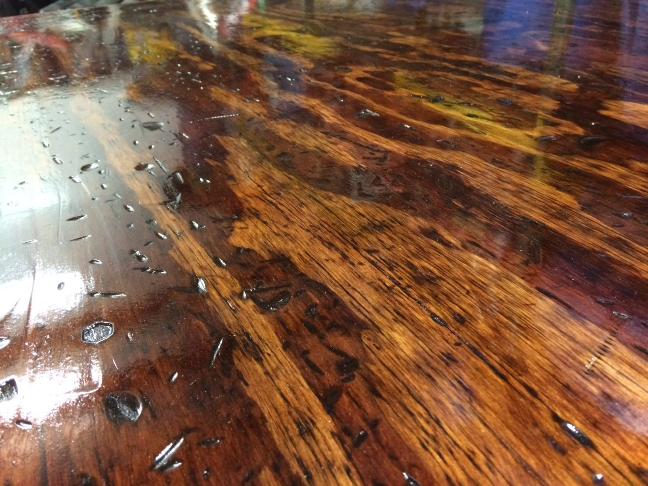 shiny rustic wood surface