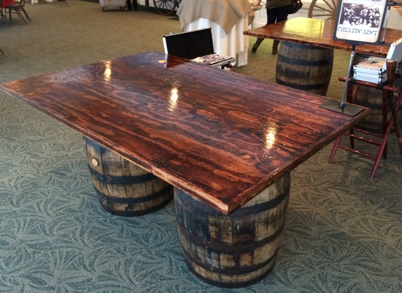 custom rustic poker tables with wine barrels