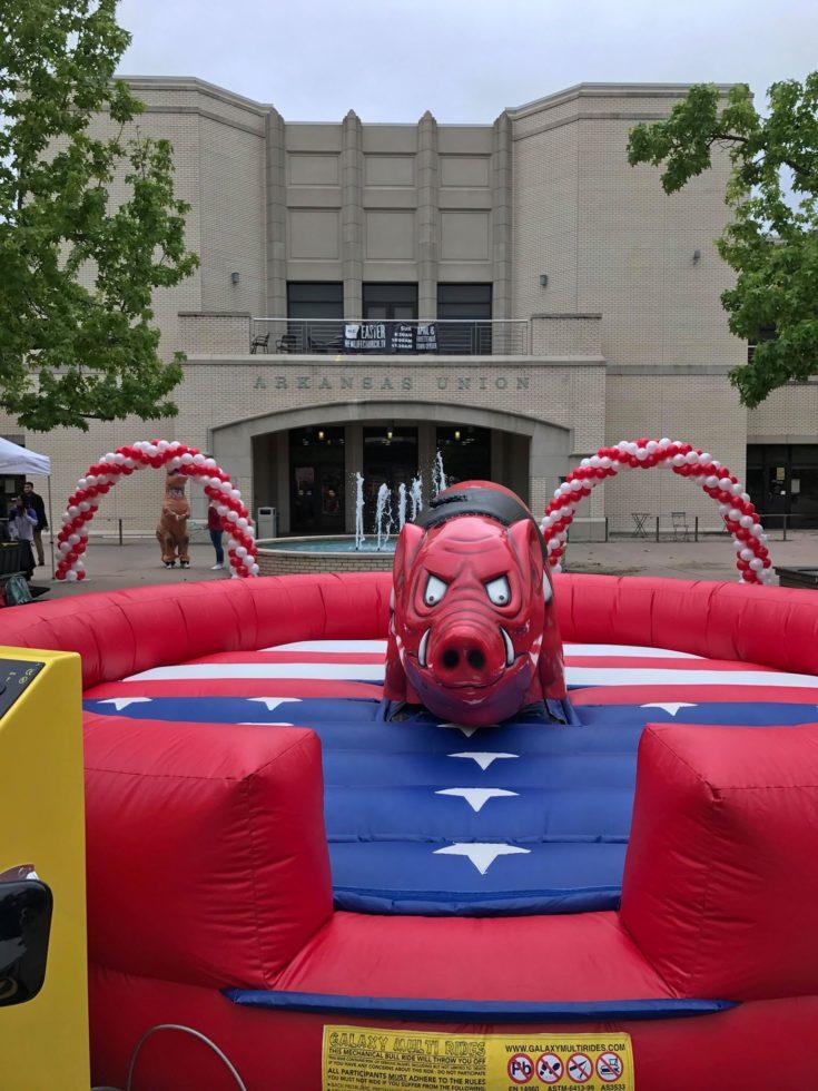 Mechanical Hog on patriotic inflatable