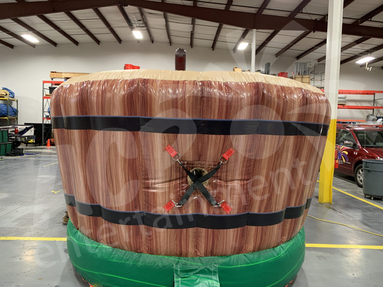 Outside barrel portion of bobbing for apples game
