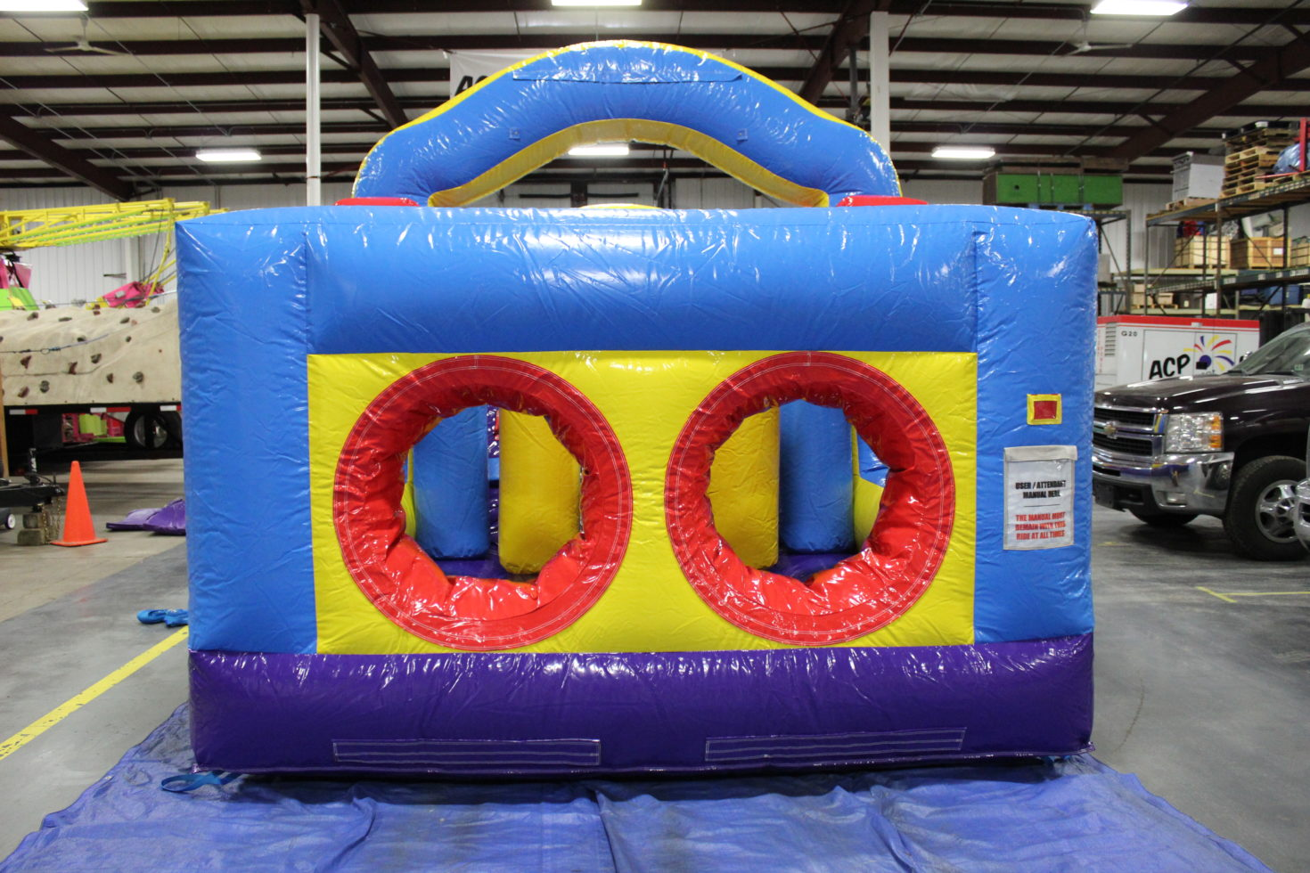 entrance to 33' inflatable obstacle course