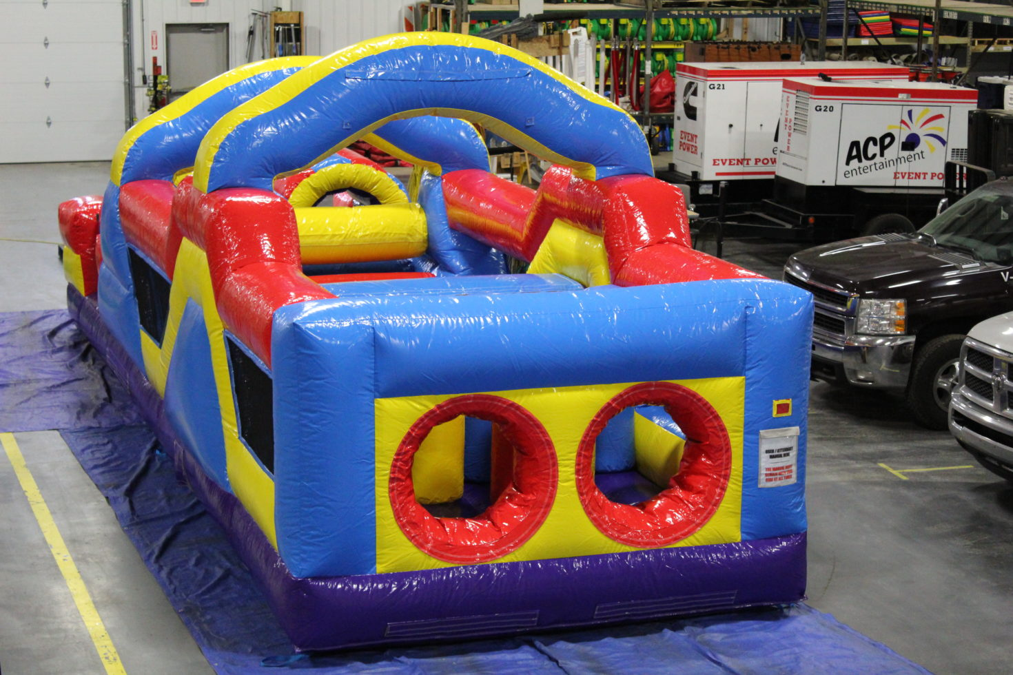 top view of 33' inflatable obstacle course rental