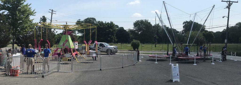 Carnival rides setup in Dearborn Detroit Michigan