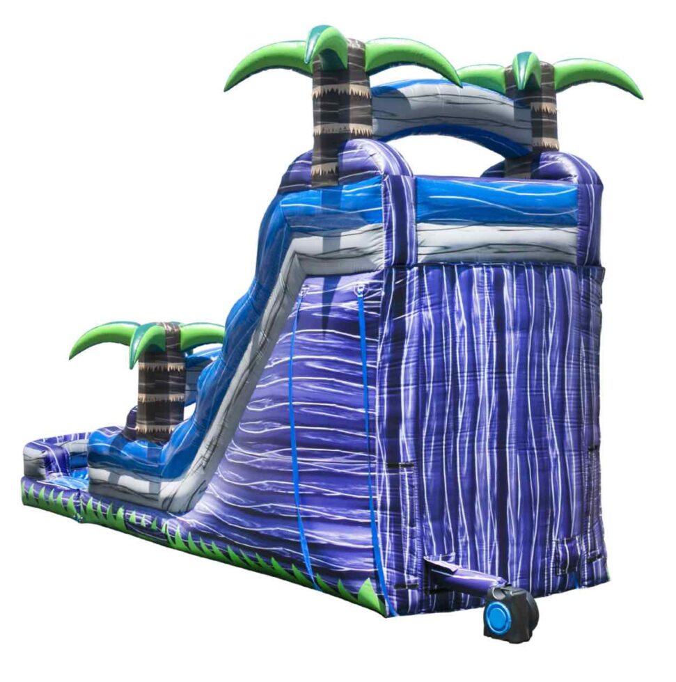 Back of purple crush water slide rental inflatable